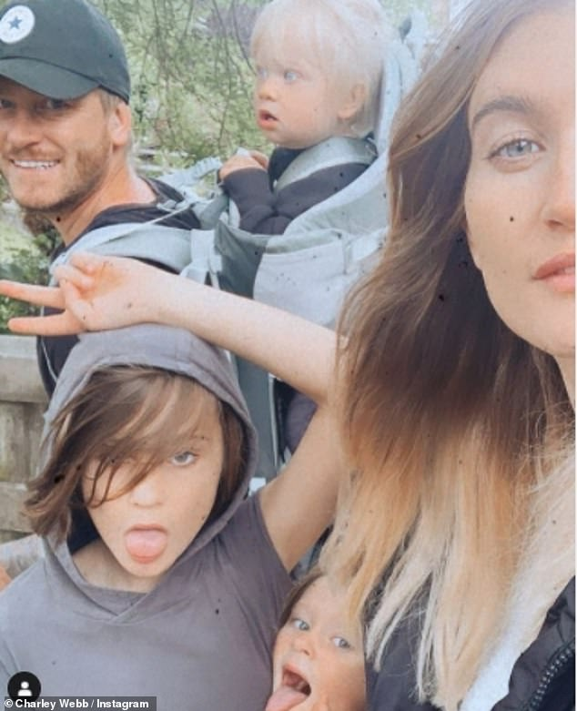 Family: Charley has three sons Buster, 10, Bowie, five, and Ace, 17 months, with Emmerdale co-star husband Matthew Wolfenden (pictured in August)