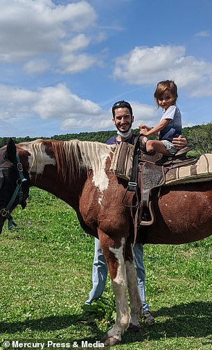 Riley is pictured horse riding with dad James
