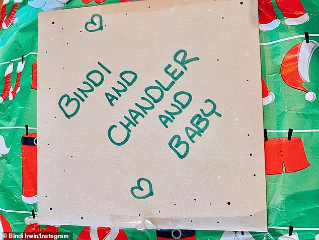 Presents: Pregnant Bindi also shared an adorable picture of a present adorned with a card addressed to 'Bindi and Chandler and Baby'