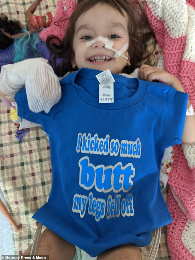 Riley, pictured in hospital, began rehabilitation towards the end of her stay in hospital before returning home