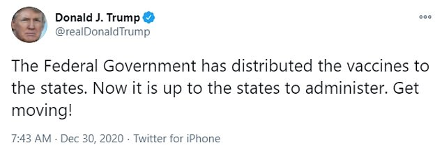 Trump took to Twitter to blame states for slow administration of vaccines on Wednesday