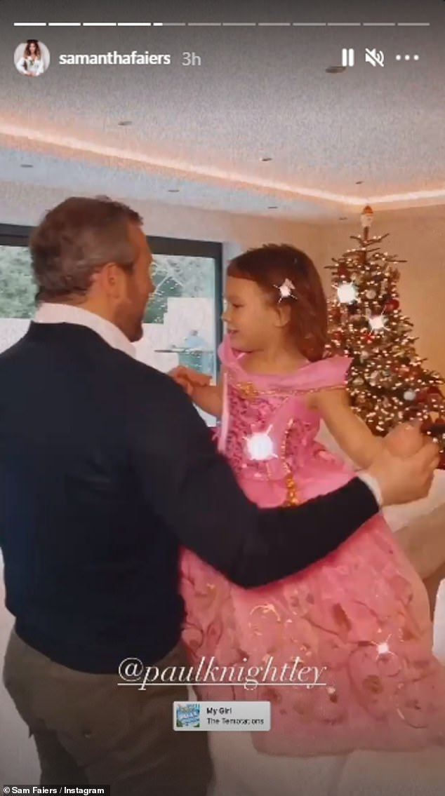That's my girl: Over on Boxing Day, the fun continued for the Faiers/Knightley family as Paul and little Rosie, dressed as a Princess, enjoyed a daddy-daughter dancing session