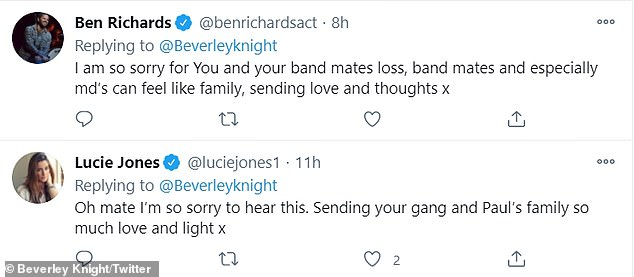 Reaching out:The post was met with a wave of support from followers, with some already aware of Reid's contribution to Beverley's band