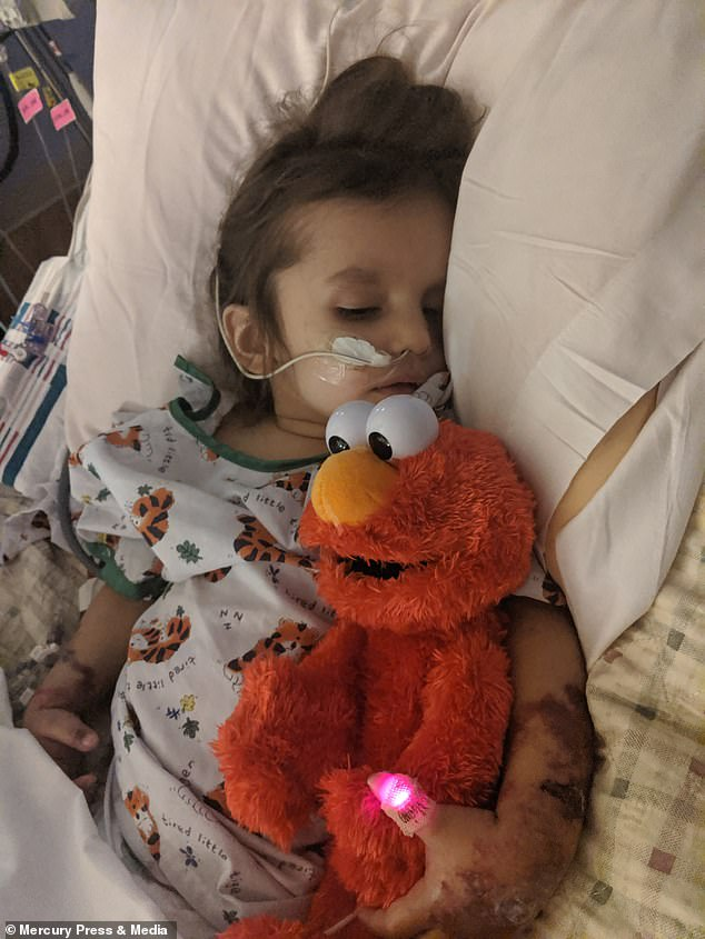Riley was rushed to hospital after her mother noticedher two-year-old daughter had a high fever, a lack of energy and appetite, and blue spots all over her body
