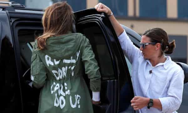 """Melania Trump wearing """"I Really Don't Care. Do U?"""" jacket."""