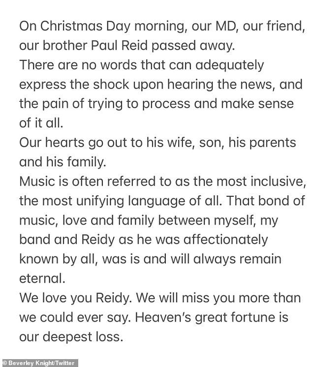 We miss you:Taking to Twitter on Sunday, devastated soul singer Beverley admitted she was still reeling after learning of his passing