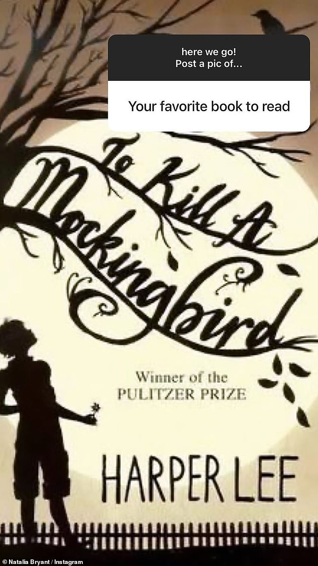 Favorite book:Natalia posted the cover of To Kill A Mockingbird by Harper Lee when asked for a photo of her favorite book