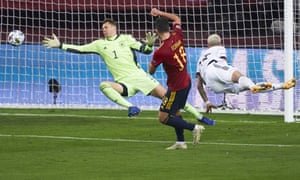 Ferran Torres scores for Spain in the 6-0 win over Germany