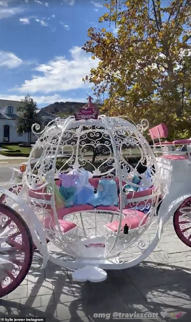 Wardrobe:Kylie, who shared footage of the epic gifts with her 205million followers on Instagram, revealed that a slew of Disney Princess costumes were resting inside the carriage