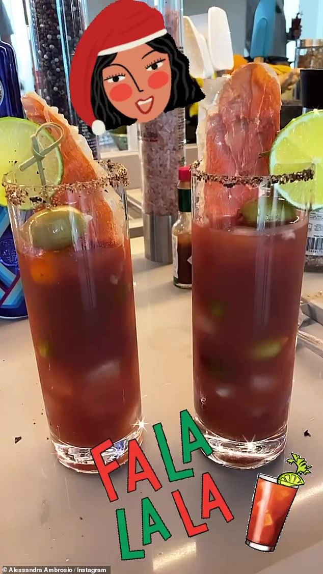 Liquid brunch: She started out her Christmas morning with some festive Bloody Marys