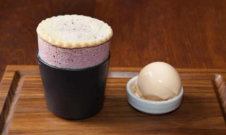 'Extraordinary': damson soufflé with a shortbread biscuit at the Elder.