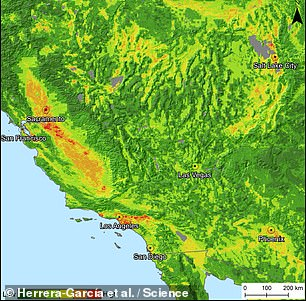 The team then developed a model to predict the risk of subsidence across the globe — including California, pictured — incorporating such factors as regional geology, climate, susceptibility to flooding or drought and human activities that deplete groundwater