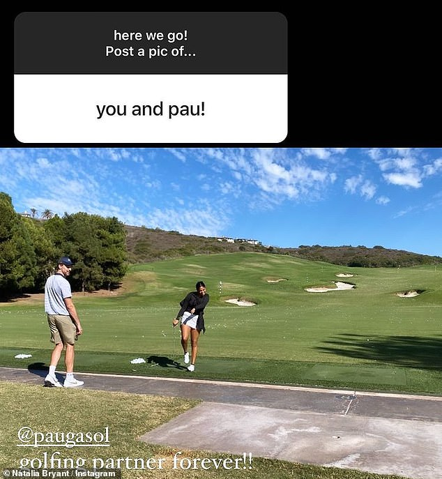 Kobe's teammate:Natalia also was asked to share a photo of herself with Kobe's former Los Angeles Lakers teammate Pau Gasol, 40, and posted a snap of them golfing together