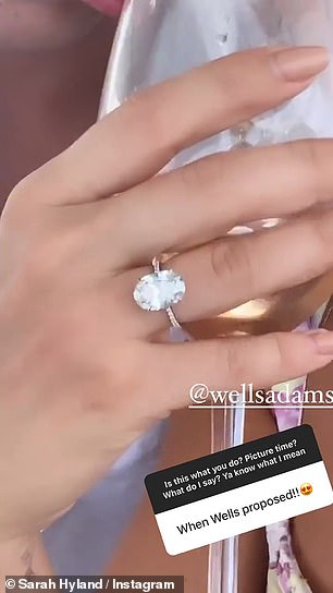 Stunning: A recurring theme among her latest posts, Sarah also shared shots of her engagement ring after Wells proposed