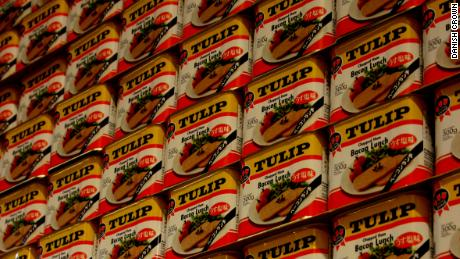 Cans of Tulip Pork Luncheon Meat seen at a Danish Crown plant in Vejle, Denmark.