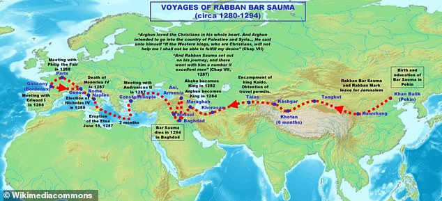 The route taken by Rabban Bar Sauma during his journey from Beijing to Gascony in the 1280s
