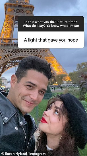 .... while another picture saw them posing in front of the Eiffel Tower