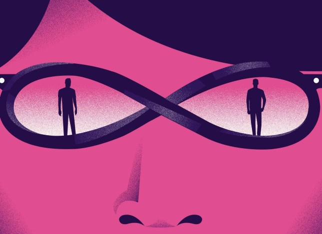 woman with glasses loop with two men, one in each lens