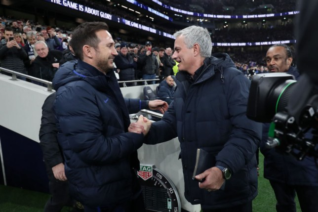 Jose Mourinho, Manager of Tottenham Hotspur greets Frank Lampard, Manager of Chelsea prior to the Premier League match between Tottenham Hotspur and Chelsea FC at Tottenham Hotspur Stadium on December 22, 2019 in London, United Kingdom.