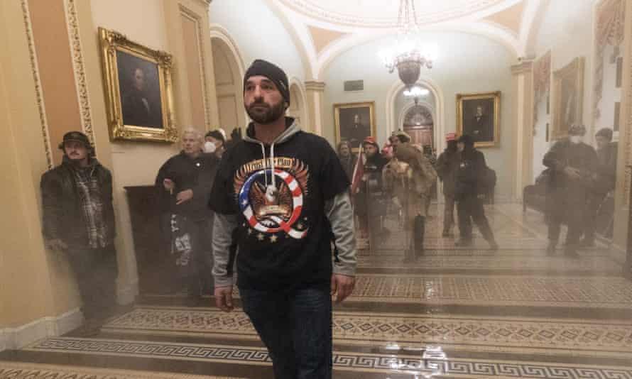 Smoke fills the walkway outside the Senate chamber on Wednesday in Washington.