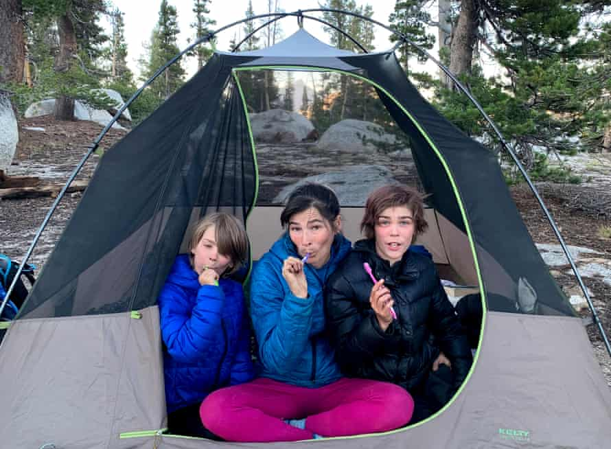 Herbie, Jemima and Artley at bedtime on their last night on the trail in Yosemite National Park.