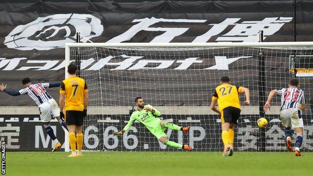 Matheus Pereira scoring his second penalty of the game against Wolves