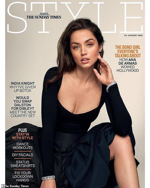 Cover girl: Ana de Armas credited her success as a rising leading lady to being at the 'right place at the right time' in a newly released interview with The Sunday Times Style