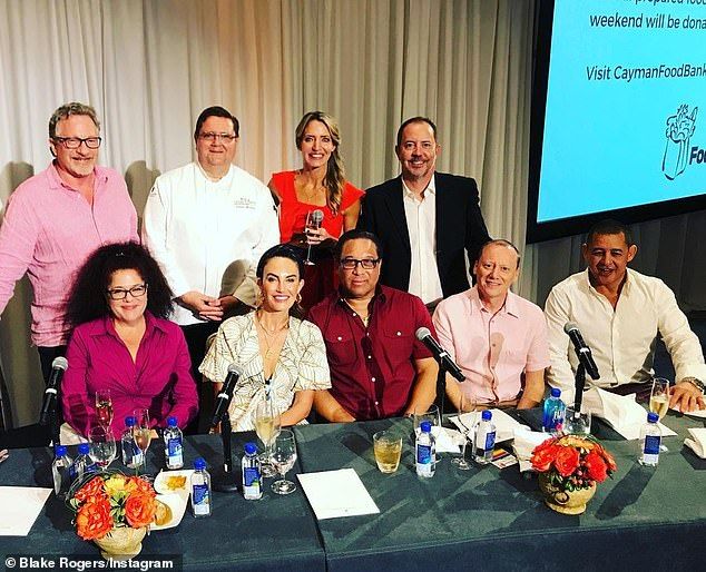 Business as usual: Armie Hammer's estranged wife Elizabeth Chambers was spotted as a judge at the Cayman Cookout brunch at the Ritz-Carlton, Grand Cayman, which was her first public appearance since the actor's 'cannibalism' scandal (Pictured second from the left in the bottom row)