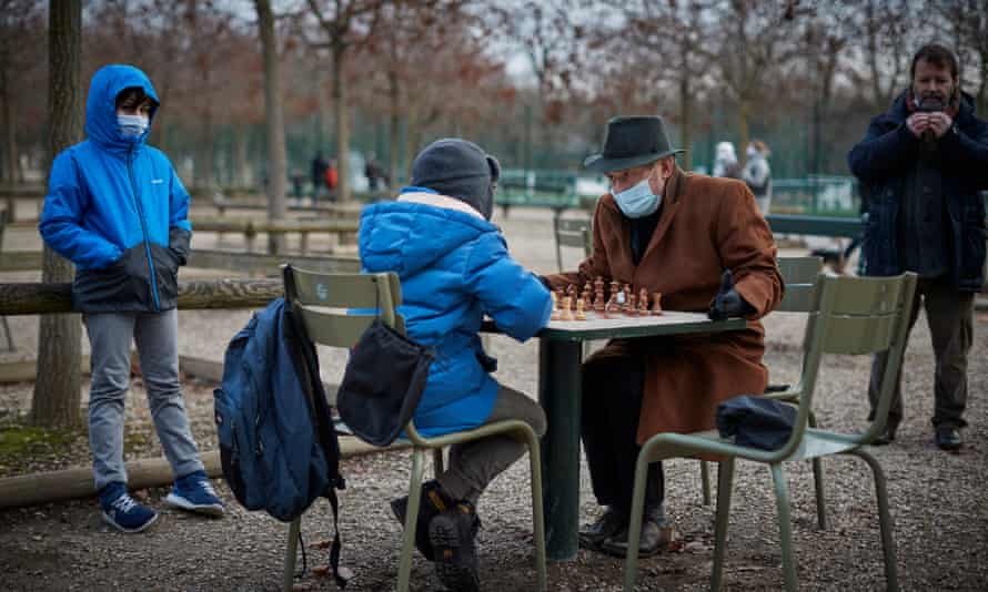Parisians play chess at the Luxembourg Gardens in Paris.