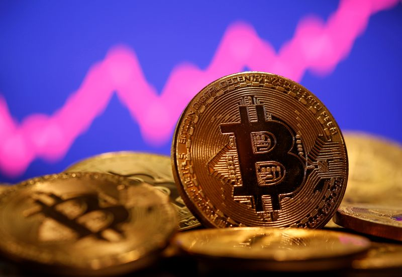 © Reuters. FILE PHOTO: A representation of virtual currency Bitcoin is seen in front of a stock graph in this illustration taken