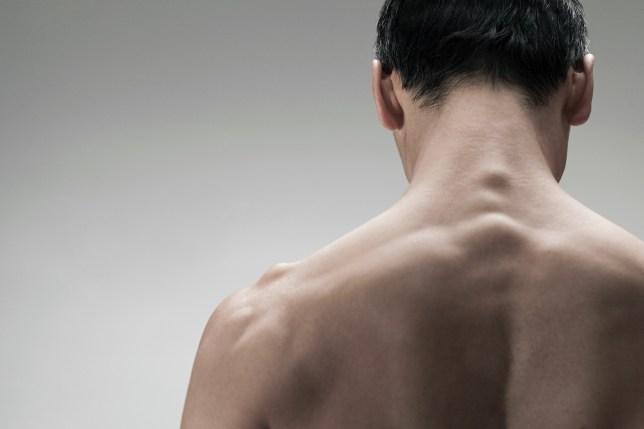 Muscular mature man, rear view