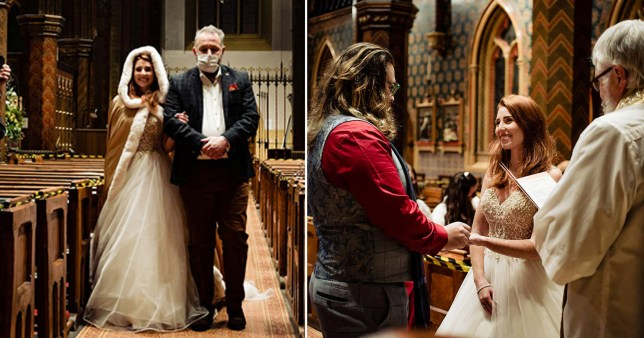 Couple marrying in church