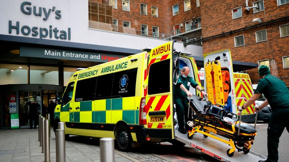 Ambulance arriving at Guy's Hospital, London