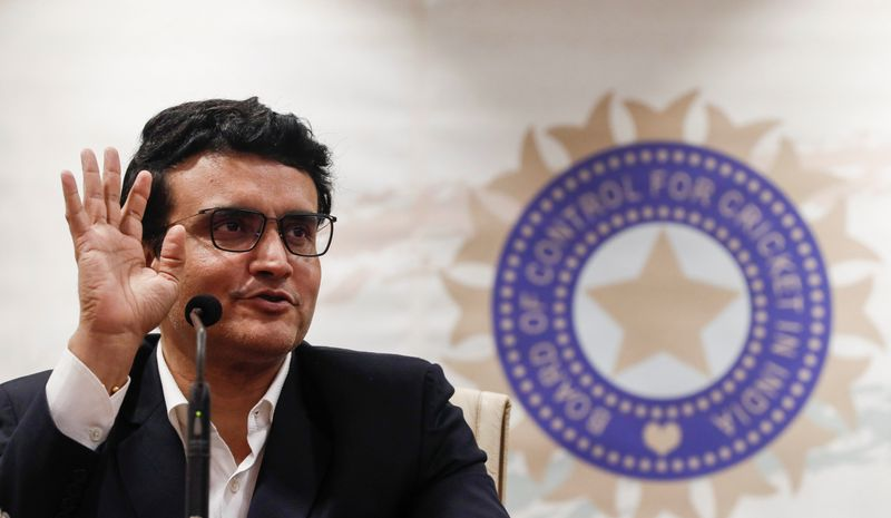 © Reuters. Former Indian cricketer and current BCCI, president Sourav Ganguly reacts during a press conference at the BCCI headquarters in Mumbai
