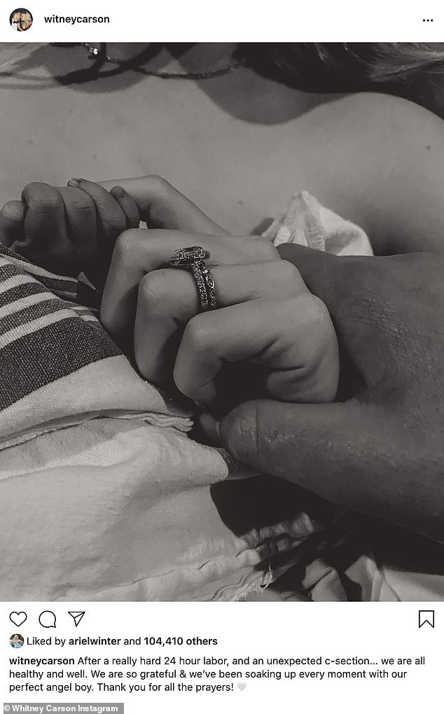 Congrats!Witney Carson announced the birth of her first child, a boy, with husband Carson McAllister on Monday afternoon