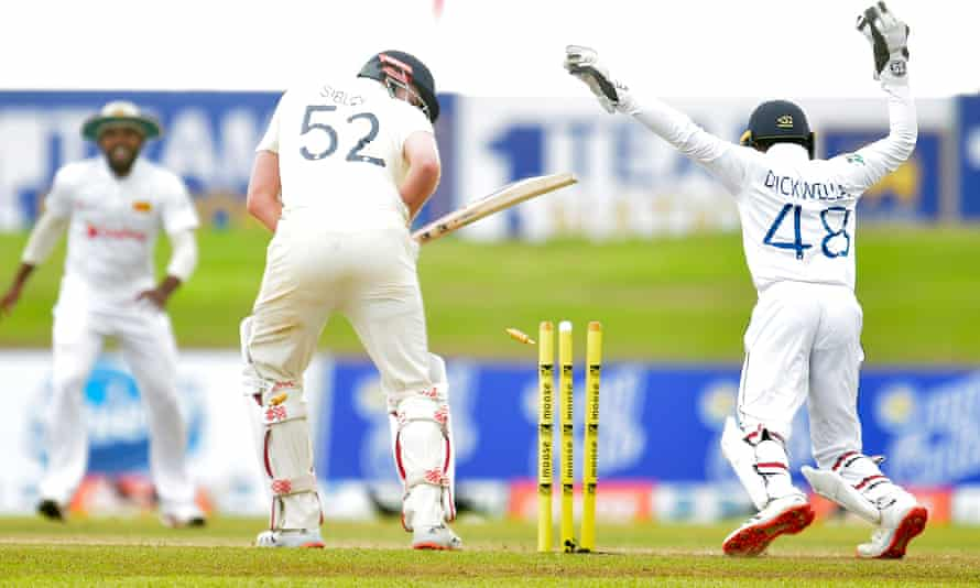 Dom Sibley is cleaned bowled by Lasith Embuldeniya.