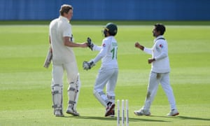 Zak Crawley is congratulated by Mohammad Rizwan of Pakistan after being dismissed for 267 in the Third Test at the Ageas Bowl last August.