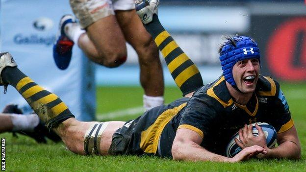 James Gaskell scores a try for Wasps