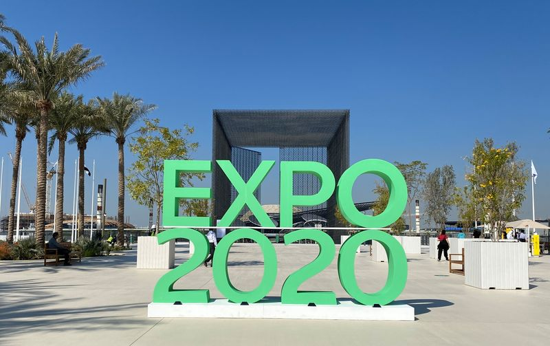 © Reuters. The sign of Dubai Expo 2020 is seen at the entrance of the site in Dubai