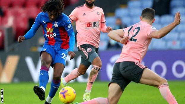 Eberechi Eze scores Crystal Palace's second goal in the Premier League game with Sheffield United