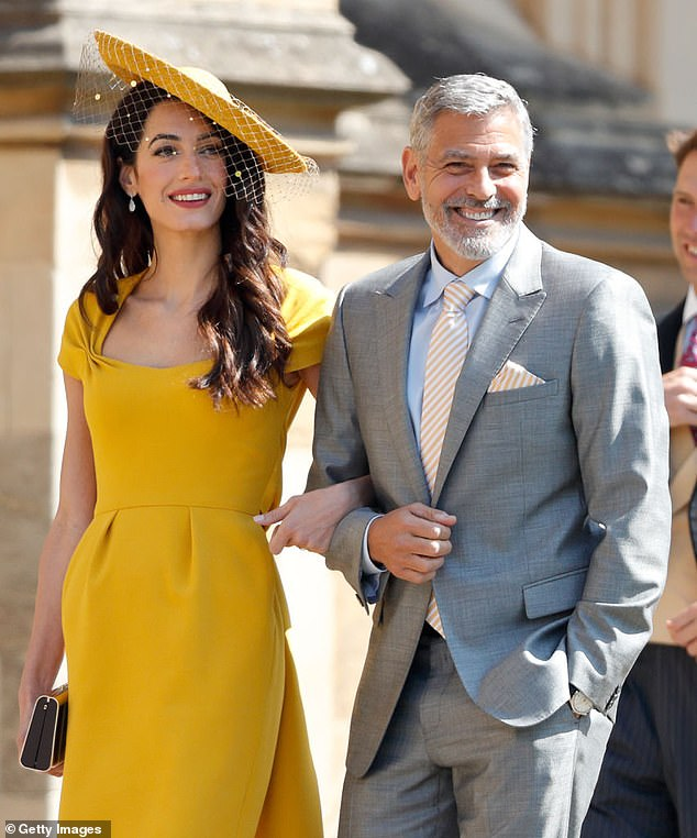 His immediate family: George Clooney has been on lockdown with his wife of six years, 42-year-old lawyer Amal Clooney; seen at the wedding of Harry and Meghan in 2018