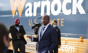 Raphael Warnock campaigning earlier today. If he beats Republican incumbent Kelly Loeffler in the runoff election, he will become Georgia's first ever Black US Senator.