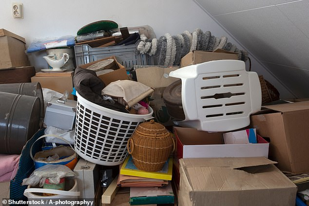 Compulsive hoarders are more likely to suffer from heart problems, sleep apnoea, chronic pain and other life-shortening conditions, a study has warned. Pictured: a hoarder's clutter