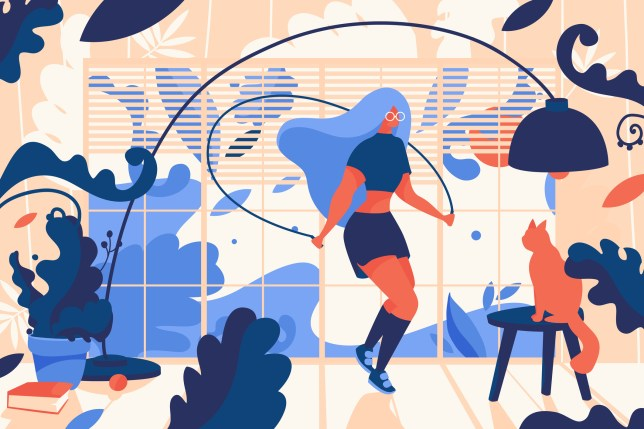 Young woman jumpink with skipping rope inside house full of greenery. Cat, sunset and book. Vivid concept illustration, good for web design and print.