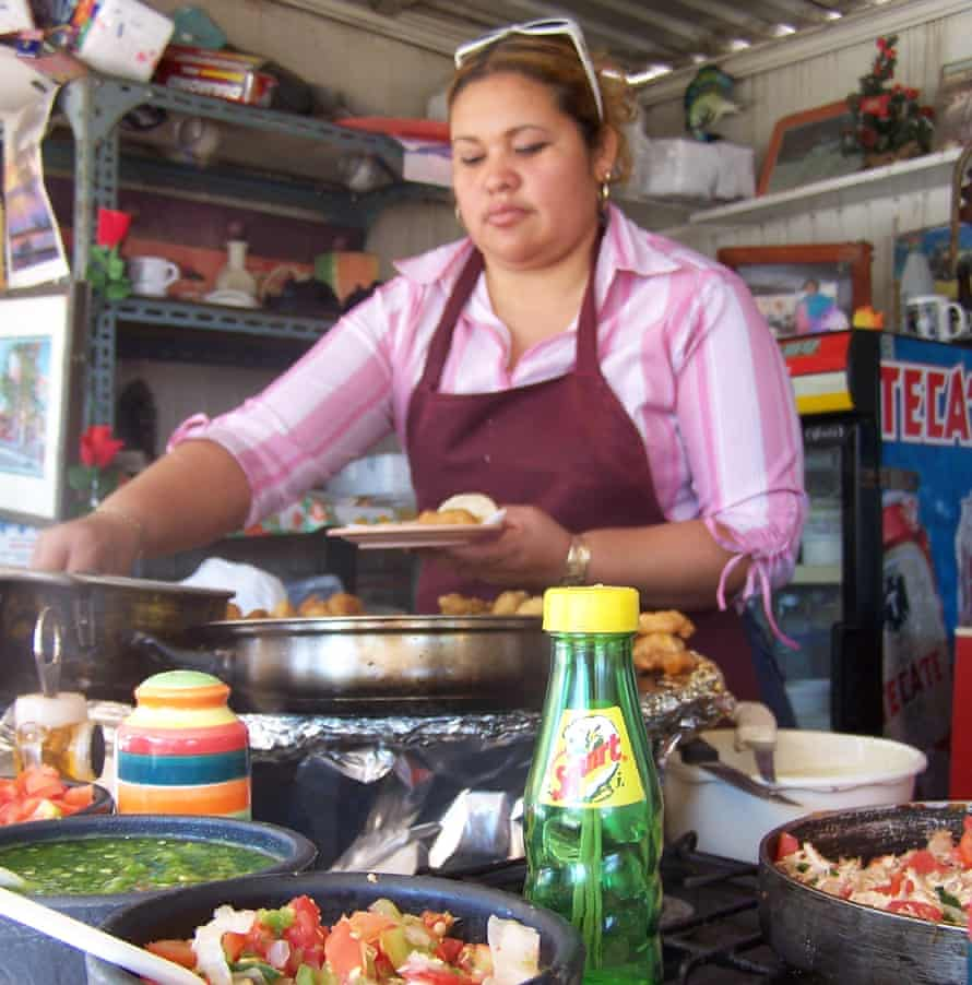 Tacos being made at a taqueria in Baja California
