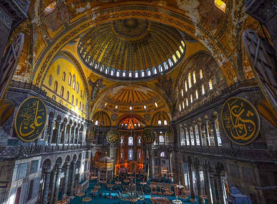 Interior of Hagia Sophia, Istanbul, Turkey.