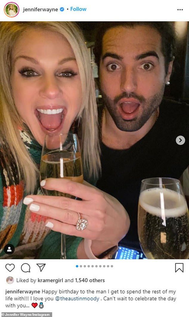 Sadie, Sadie: Jennifer Wayne announced her engagement on Instagram this Wednesday, flashing her ring as she posed with her fiance Austin Moody