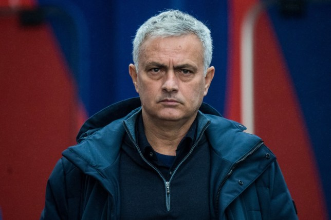 Jose Mourinho of Tottenham Hotspur looks on during the Premier League match between Crystal Palace and Tottenham Hotspur at Selhurst Park on December 13, 2020 in London, United Kingdom.