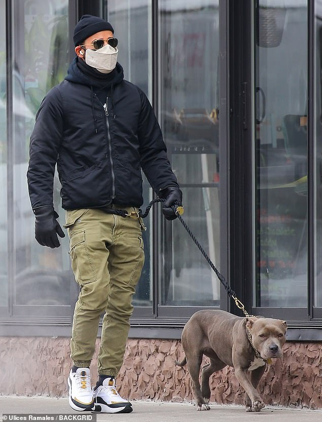 Dog dad: Justin Theroux, 49, looks every bit the hunky hipster as he strolled in NYC with his rescue dog Kuma rocking cargo joggers and a beanie with fresh sneakers