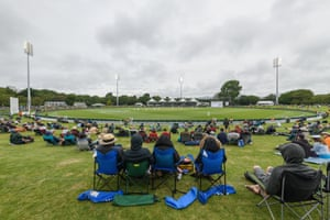 Fans watch the second Test at the Hagley Oval.